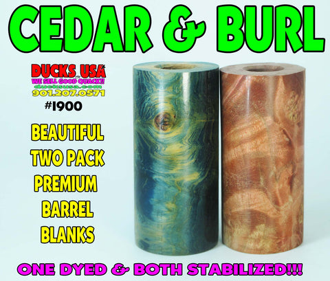 WOOD - BURL EXOTIC Barrel Blanks Two Pack Dyed Cedar & Exotic Burl #1900