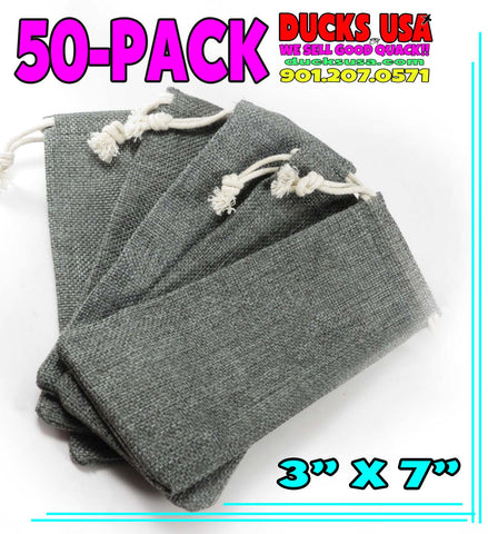 BAGS - GAME CALL BURLAP BAGS 50-PACK -  PREMIUM SMOKE BURLAP CUSTOM BAGS