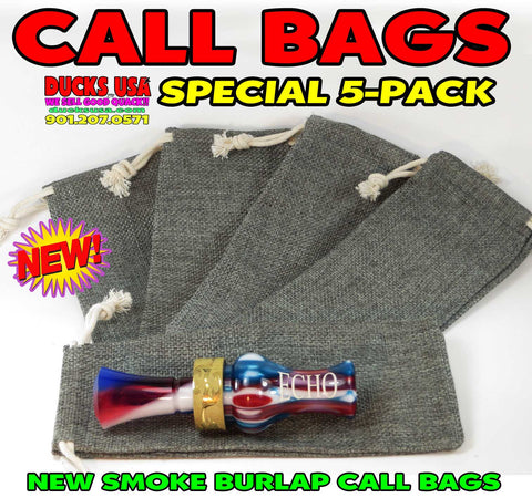 BAGS - GAME CALL BAGS 5-PACK -  Premium Gun Smoke Gray Burlap Call Bags