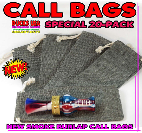 "BAGS - GAME CALL BAGS GUN SMOKE BURLAP 3"" X 7"" CUSTOM BAGS 20-PACK"