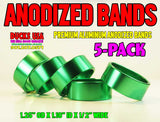 "BANDS - ANODIZED BRIGHT GREEN BRIGHT 5-PACK - 1.25"" OD X 1.10"" ID X .5"" WIDE"