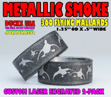 BANDS - 360 FLYING MALLARDS METALLIC SMOKE Laser Engraved  2-PACK