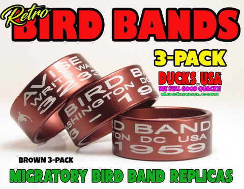 BANDS - ANODIZED BROWN Bird Band Replicas Laser Engraved FULL WRAP 3-Pack