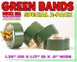 "BANDS - GREEN POWDER COAT SERIES Alum Bands 2-PACK 1.25"" OD x 1.17"" ID X 1/2"" WIDE"