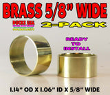 "BANDS - 5/8"" Wide BRASS 2-PACK 1.14"" OD X 1.06"" ID Hand Polished & Ready to Install"