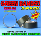 "BANDS - POWDER COAT SERIES GREEN Bands 2-PACK 1.25"" OD X .5"" Wide"