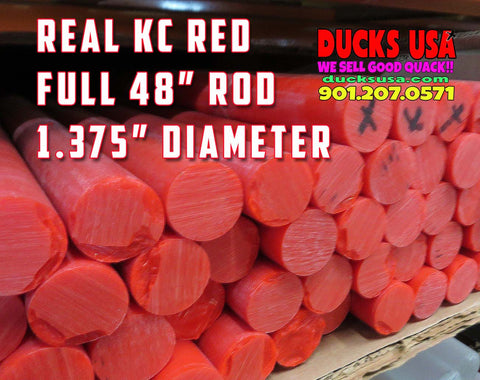 "ACRYLIC - KC RED from SPARTECH - This is AUTHENTIC KC RED 1.375"" X 48"" Rod"