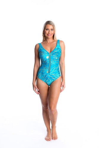 Togs one piece zipped neck swimsuit