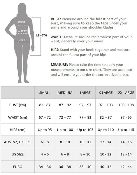 Adele Flapper Dress Size Chart