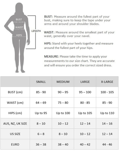 Eloise Flapper Dress Size Chart