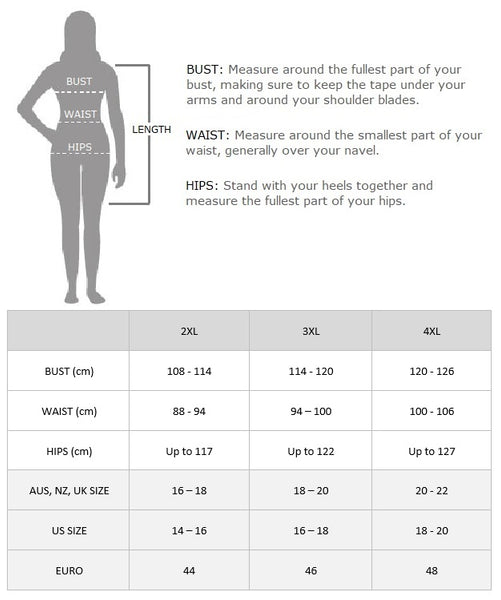 Plus Size Mable Flapper Dress Size Chart