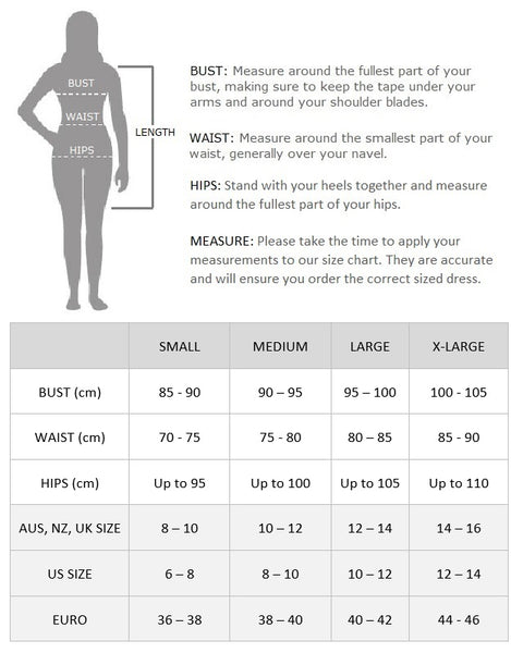 Veronica Black Gatsby Dress Size Chart