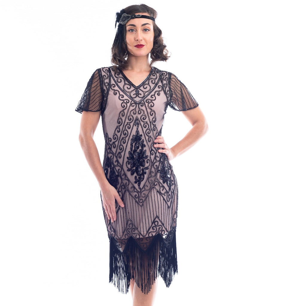 1920s Beige & Black Beaded Evelyn Gatsby Dress