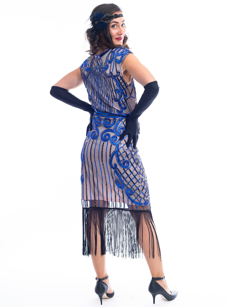 A back view 1920s Beige & Blue Beaded Flapper Dress with fringes around hem