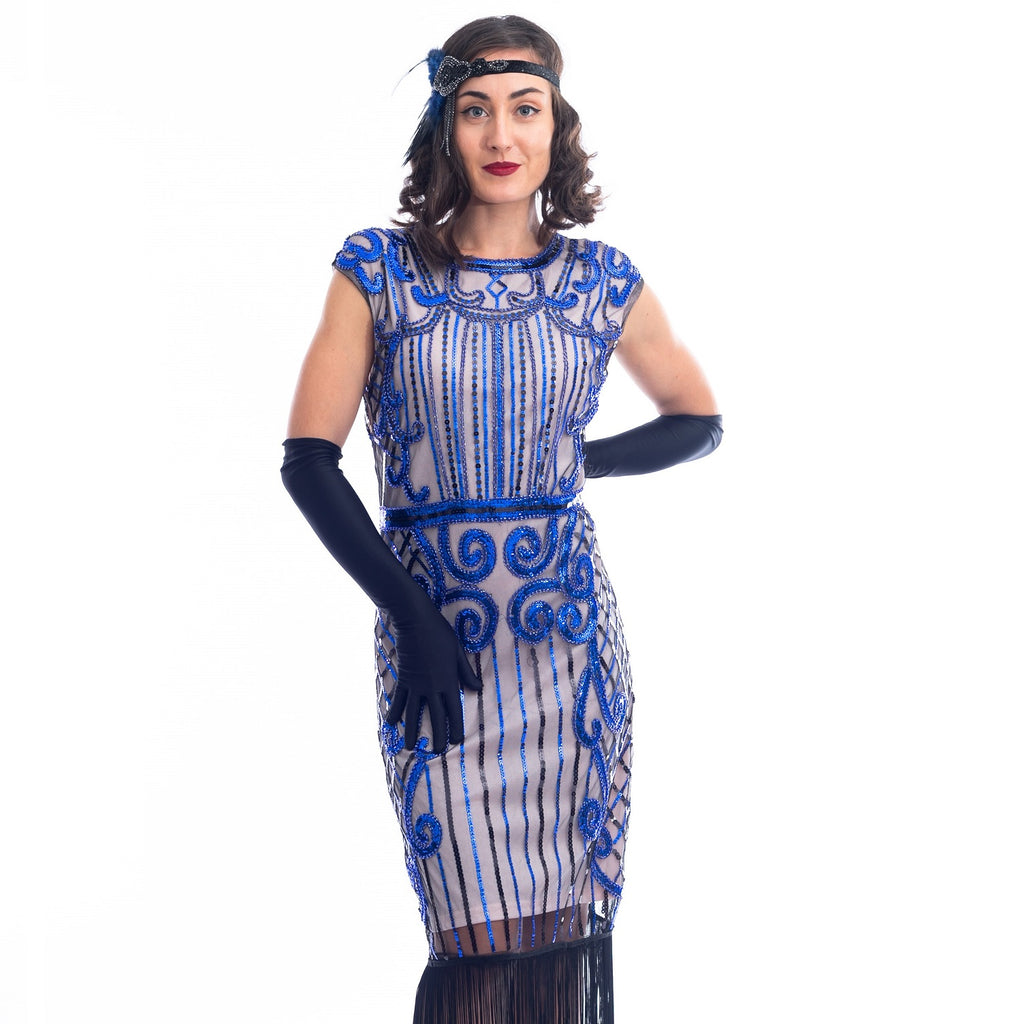 A close view 1920s Beige & Blue Beaded Flapper Dress with fringes around hem