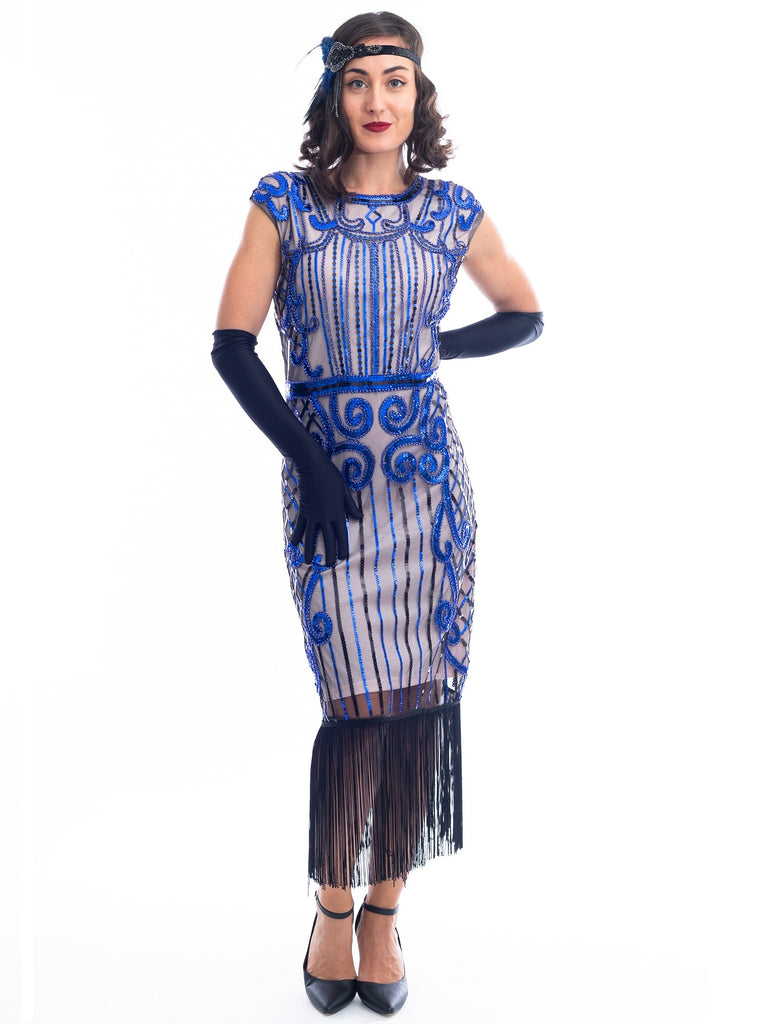 A 1920s Beige & Blue Beaded Flapper Dress with fringes around hem