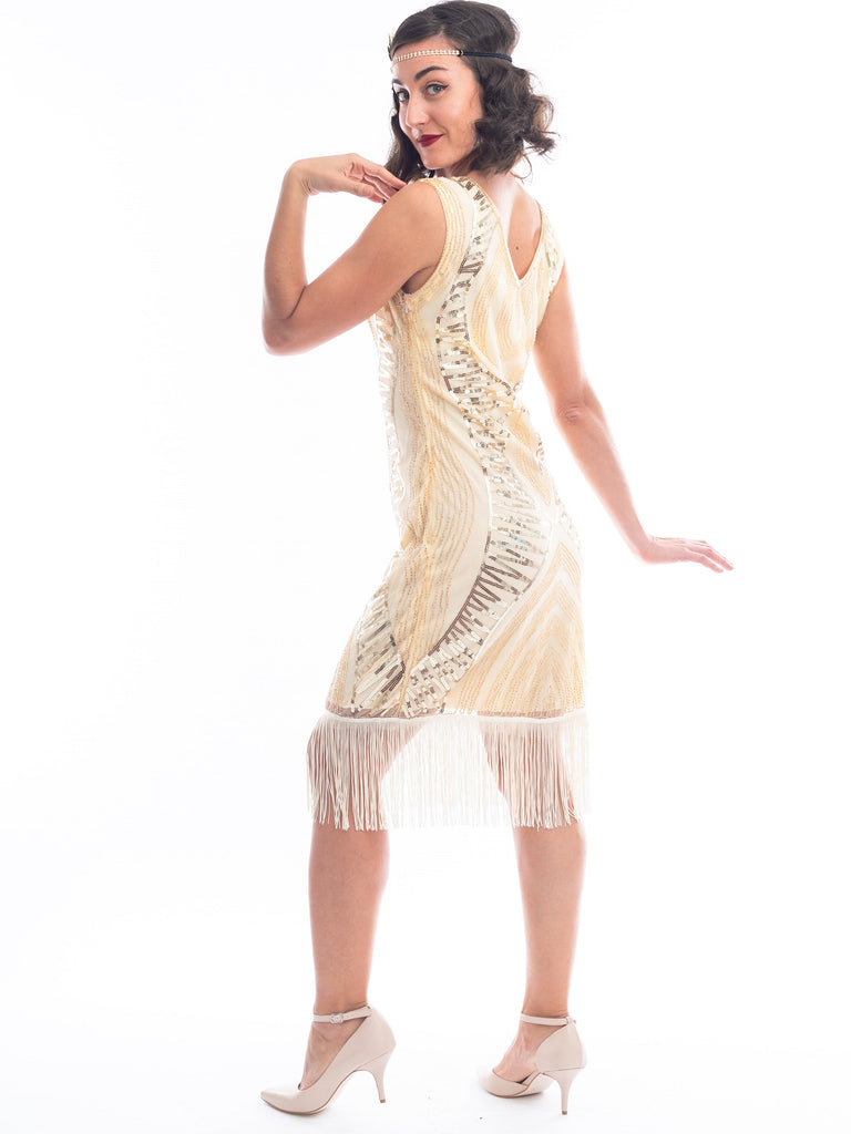 1920s Cream & Gold Sequin Valerie Gatsby Dress