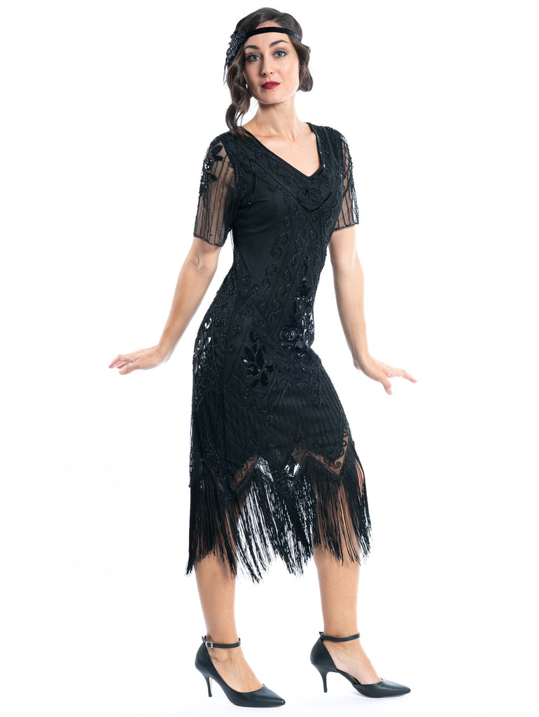 A Plus Size Black Gatsby Dress with sleeves, sequins and beads