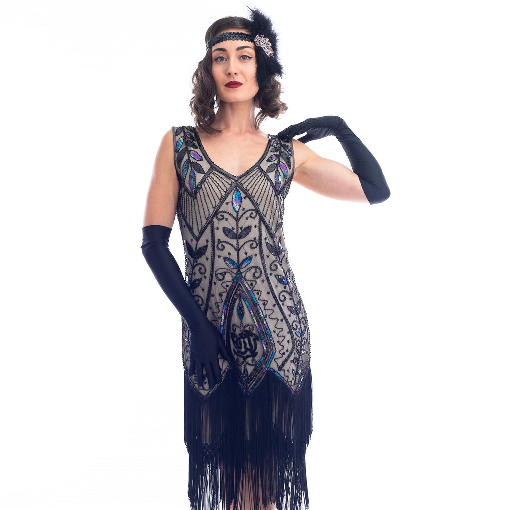 1920s Black Beaded Grace Flapper Dress with black fringes around hem