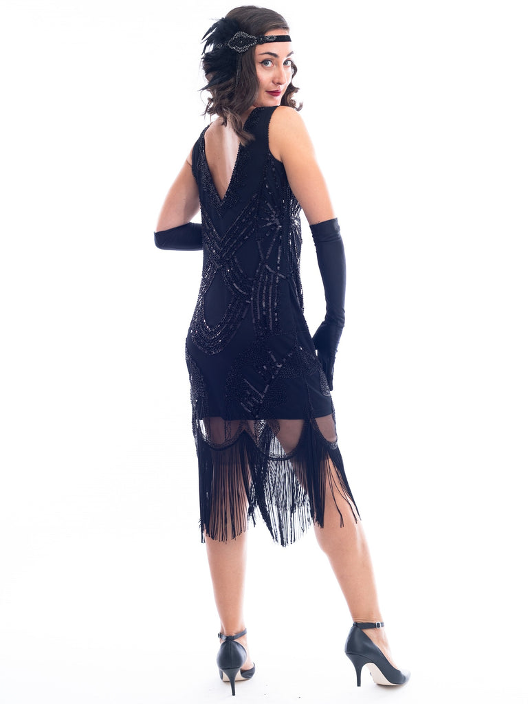 1920s Black Beaded Marie Gatsby Dress