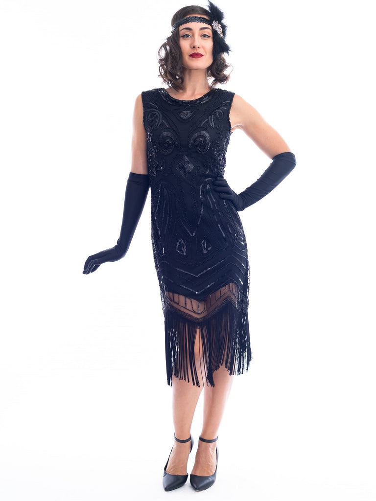 A black and gold sleeveless 1920s Flapper Dress with sequins and beads