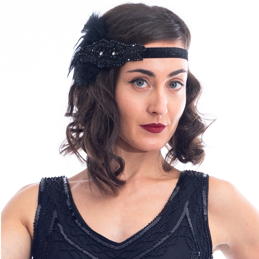 1920s Black Beaded Rhinestone & Feather Headband