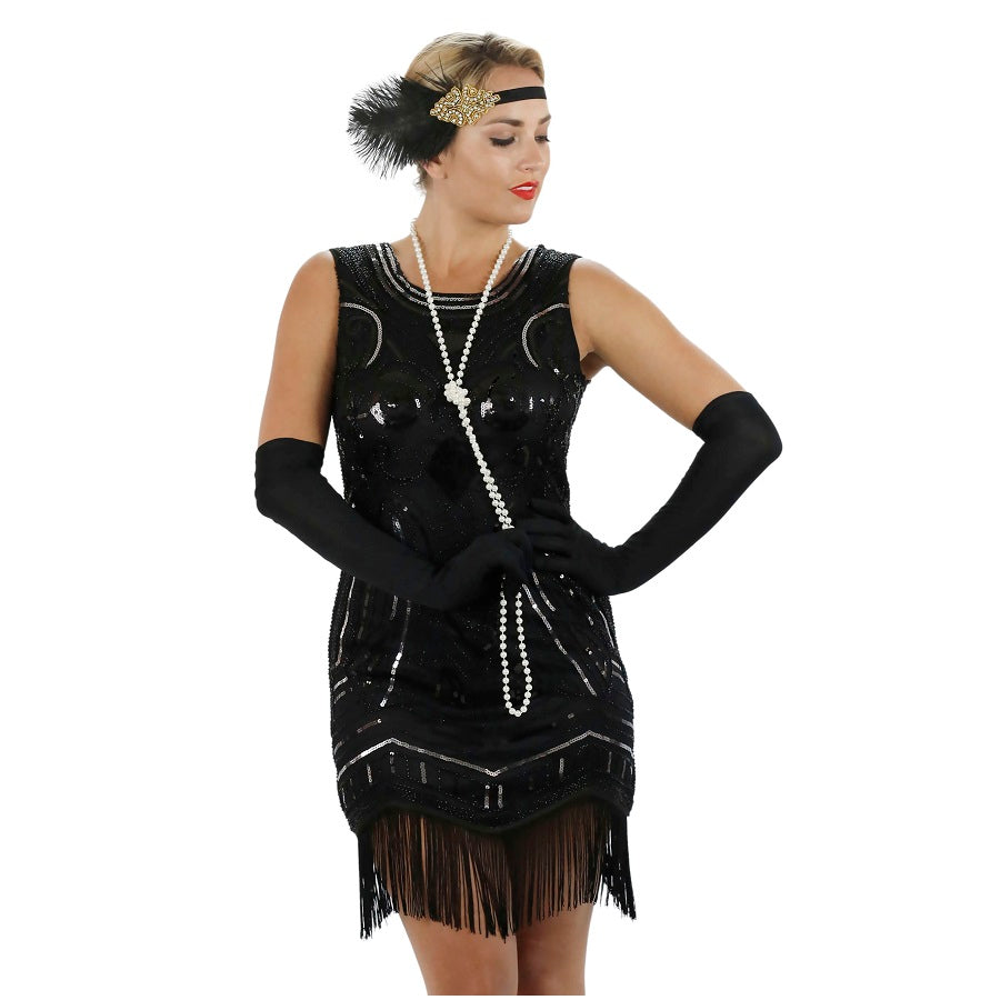 1920s Black Beaded Sequin Ava Flapper Dress Zoom