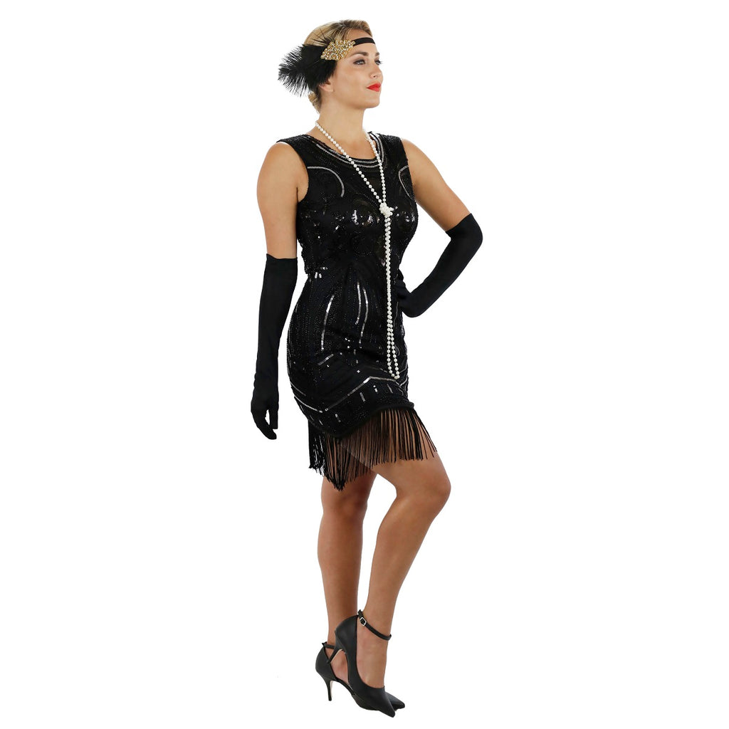 1920s Black Beaded Sequin Ava Flapper Dress