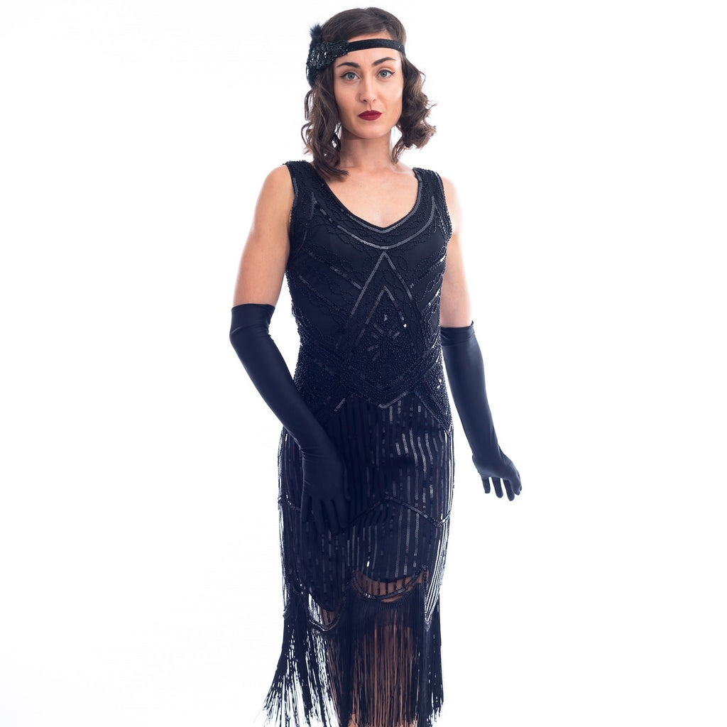 1920s Black Beaded Stella Flapper Dress Sequins and Fringes