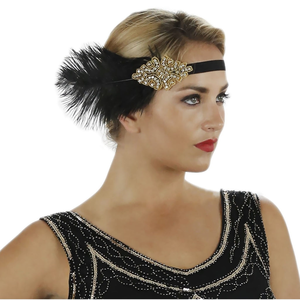1920s Black Deco Flapper Headband