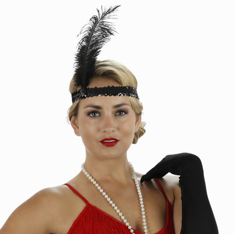 1920s Black Feather Flapper Headband