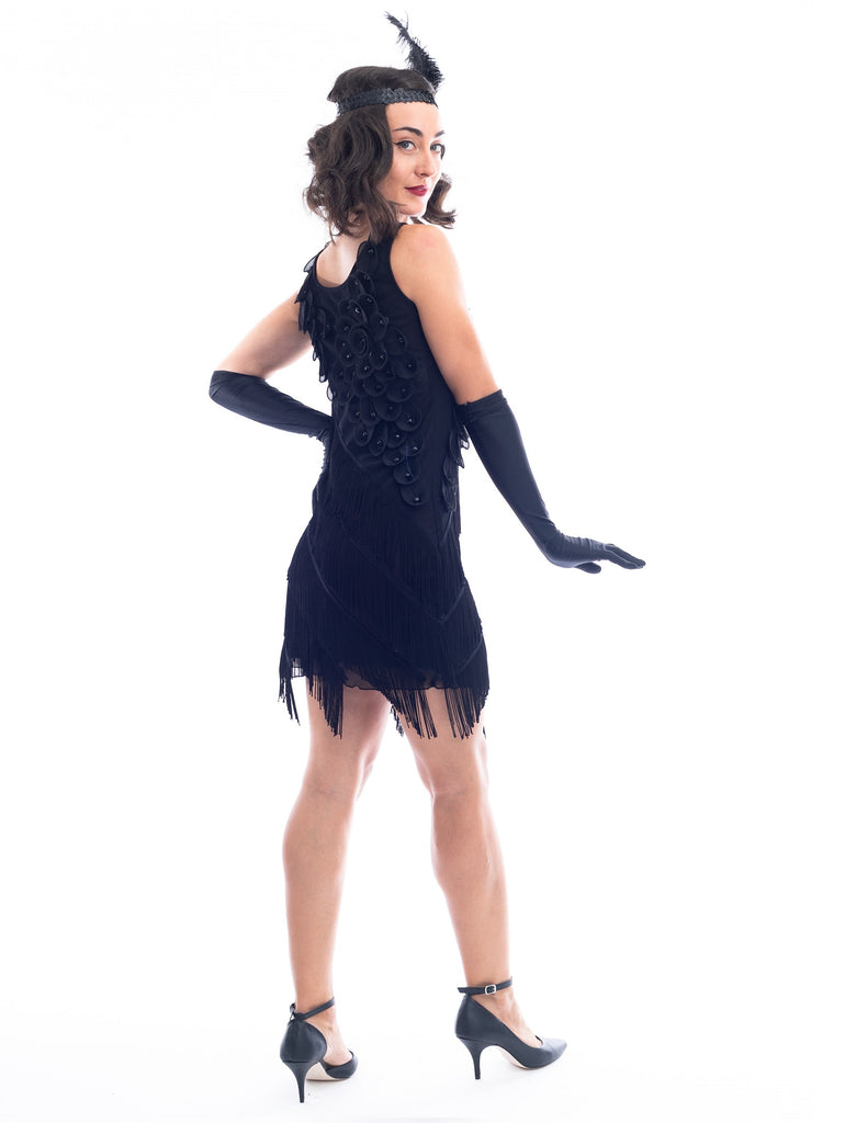 1920s Black Fringe Lillian Flapper Dress