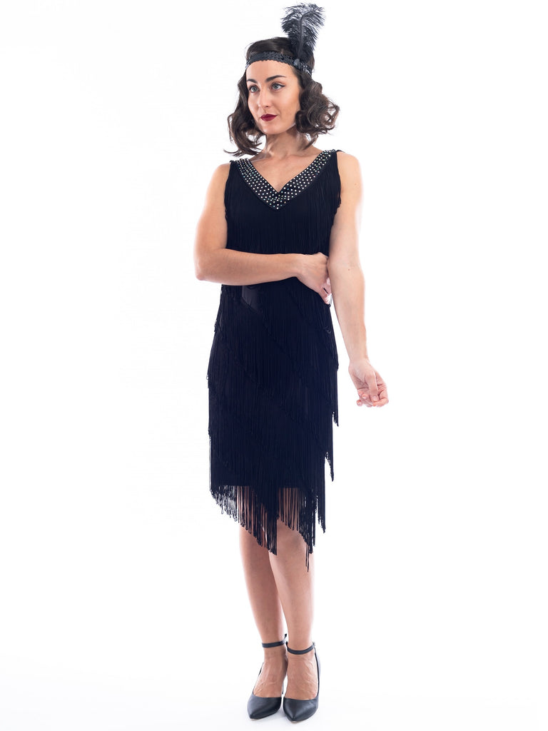 1920s Black Fringe Rita Flapper Dress