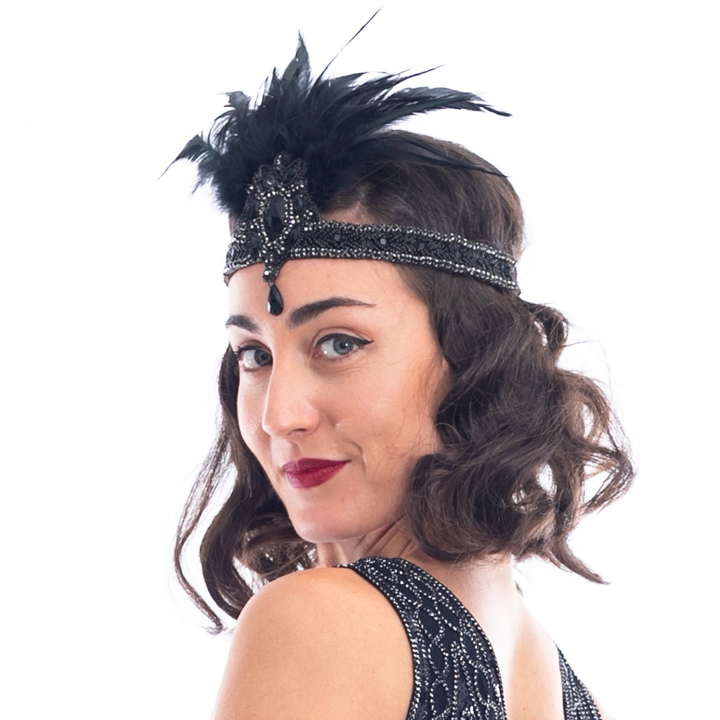 1920s Black Gem & Feather Headband