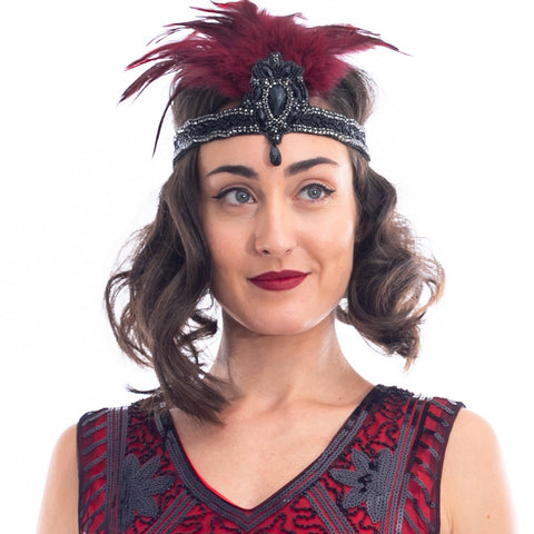 1920s Black Gem & Red Feather Headband