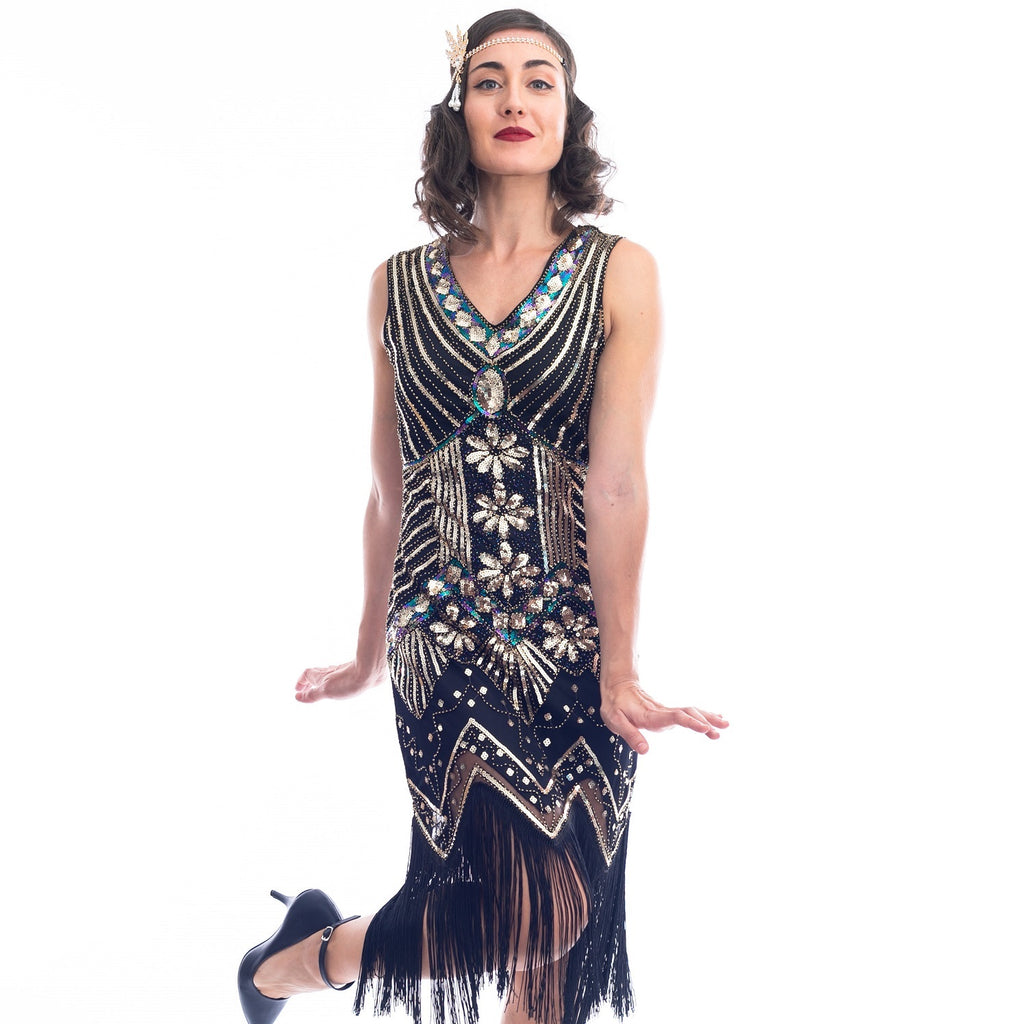 1920s Black & Gold Beaded Ella Flapper Dress