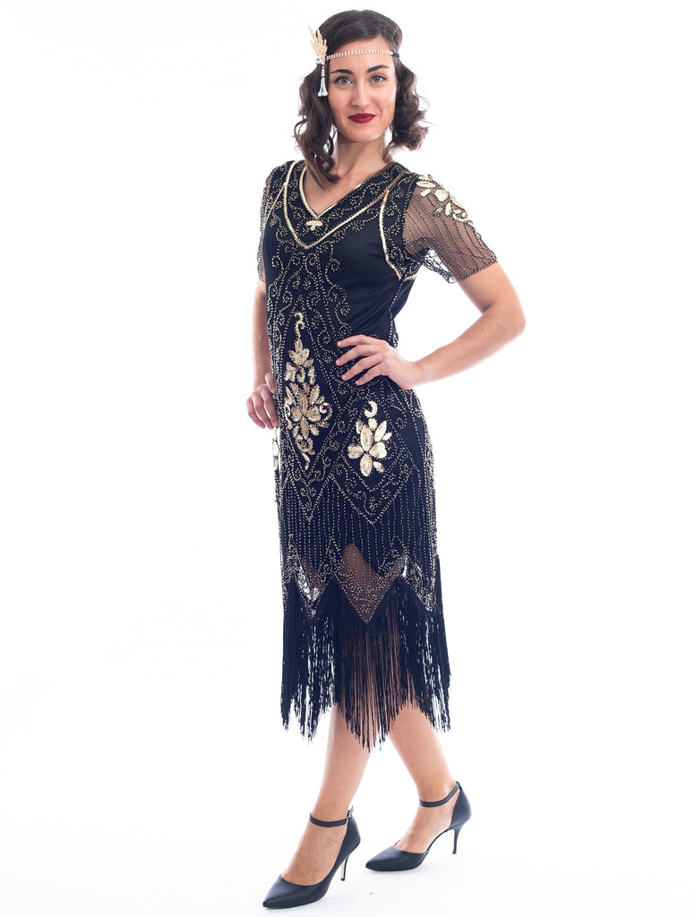 1920s Black & Gold Evelyn Flapper Dress with beads and sequins