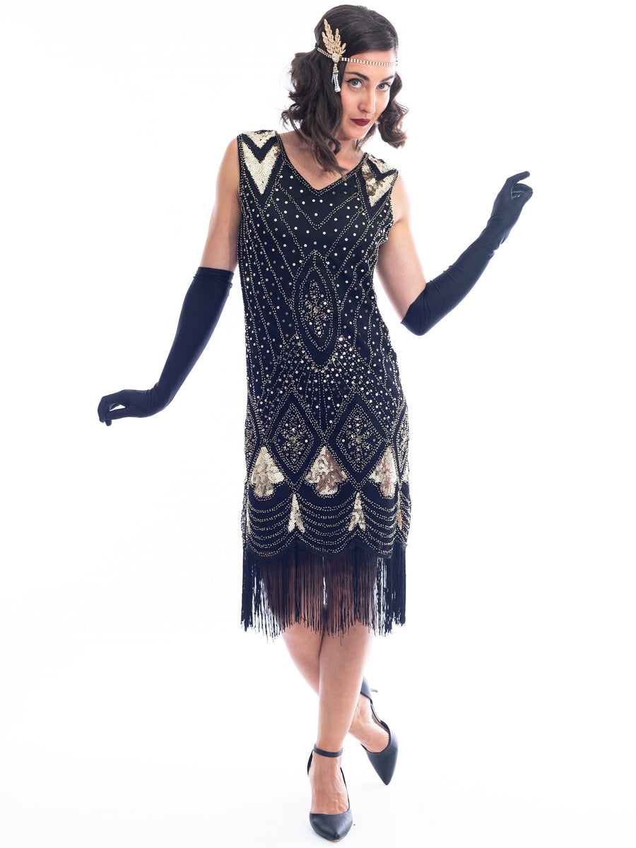 1920s Black Amp Gold Beaded Lola Gatsby Dress