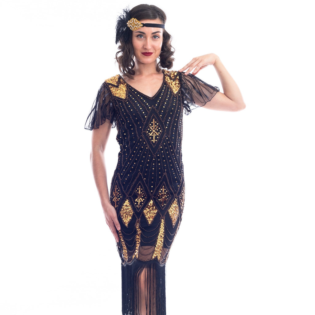 1920s Black & Gold Louise Gatsby Dress with sequins and beads
