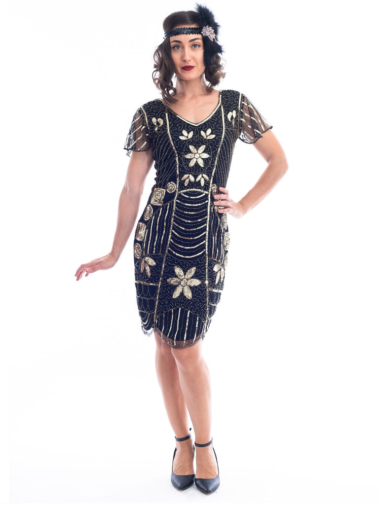 A Black and Gold 1920s Flapper Dress with a floral pattern of sequins and Beads