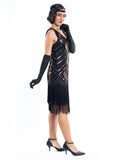 A black flapper dress with gold sequins, beads and black fringes around the hem - Side View