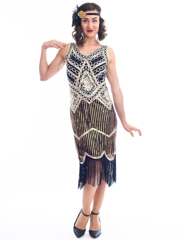 1920s Black & Gold Isabella Flapper Dress with sequins