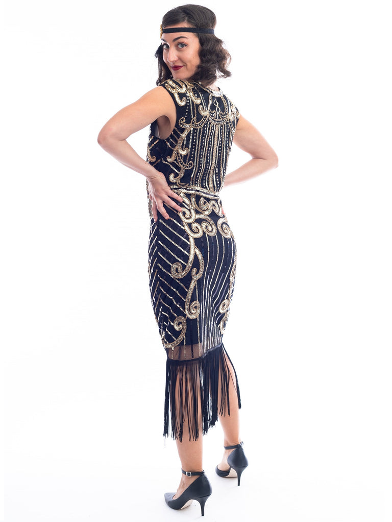 1920s Black & Gold Clara Flapper Dress with sequins and beads