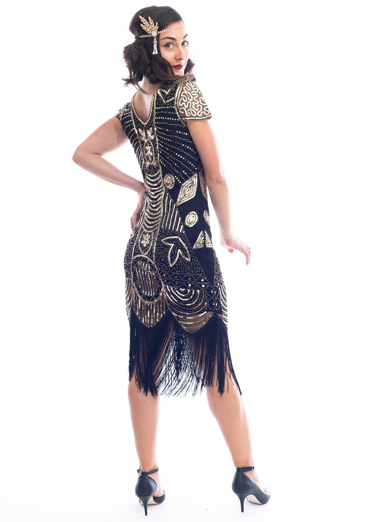 1920s Black & Gold Eva Gatsby Dress with sequins and beads