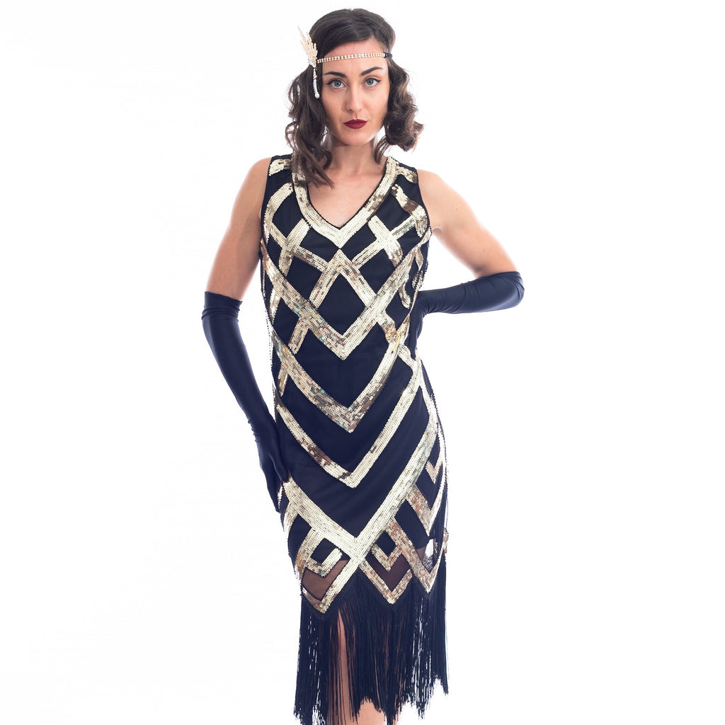 1920s Black & Gold Sequin Hazel Flapper Dress