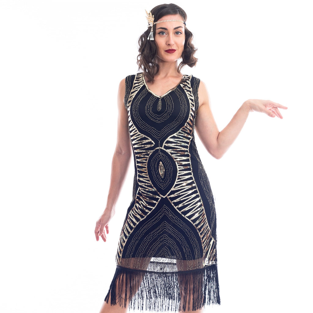 1920s Black & Gold Sequin Valerie Gatsby Dress