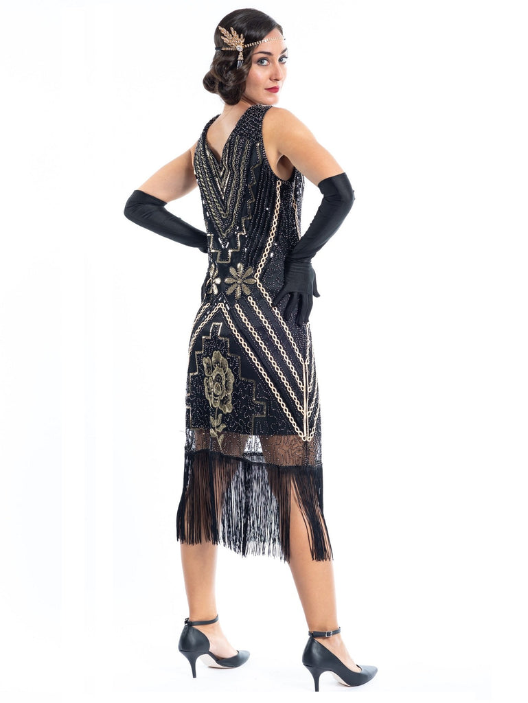 A Black Vintage Gatsby Dress with gold sequins, gold beads and black fringes - Back View