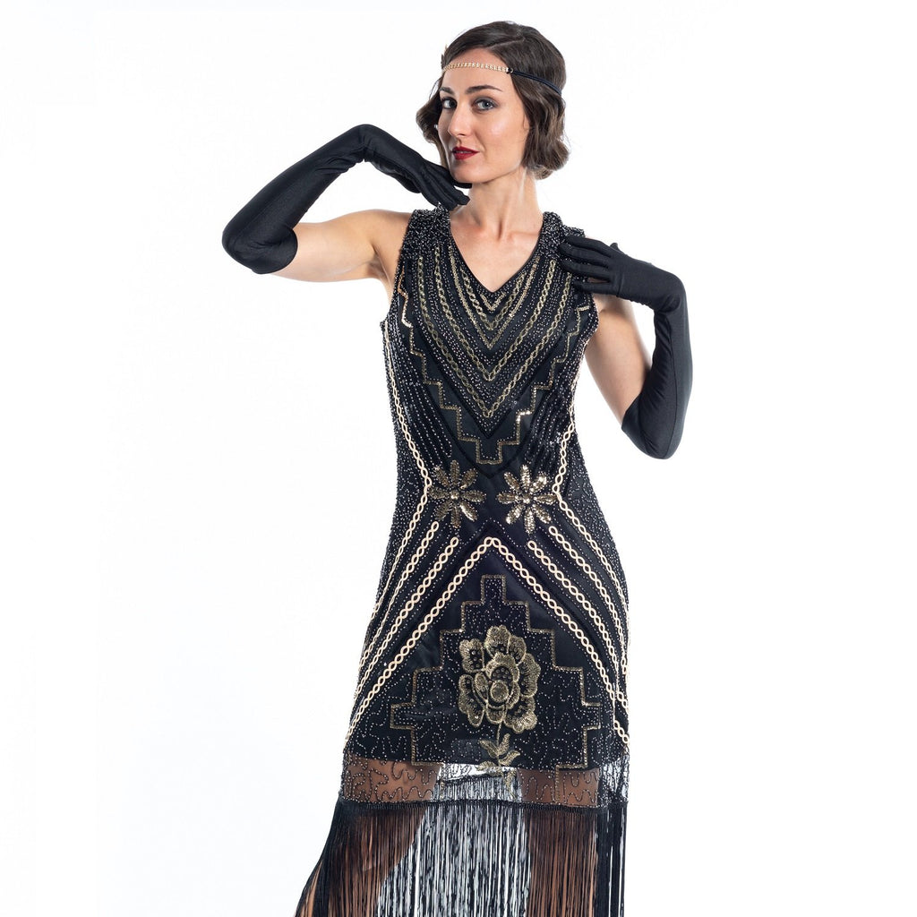 A Black Vintage Gatsby Dress with gold sequins, gold beads and black fringes - Close View