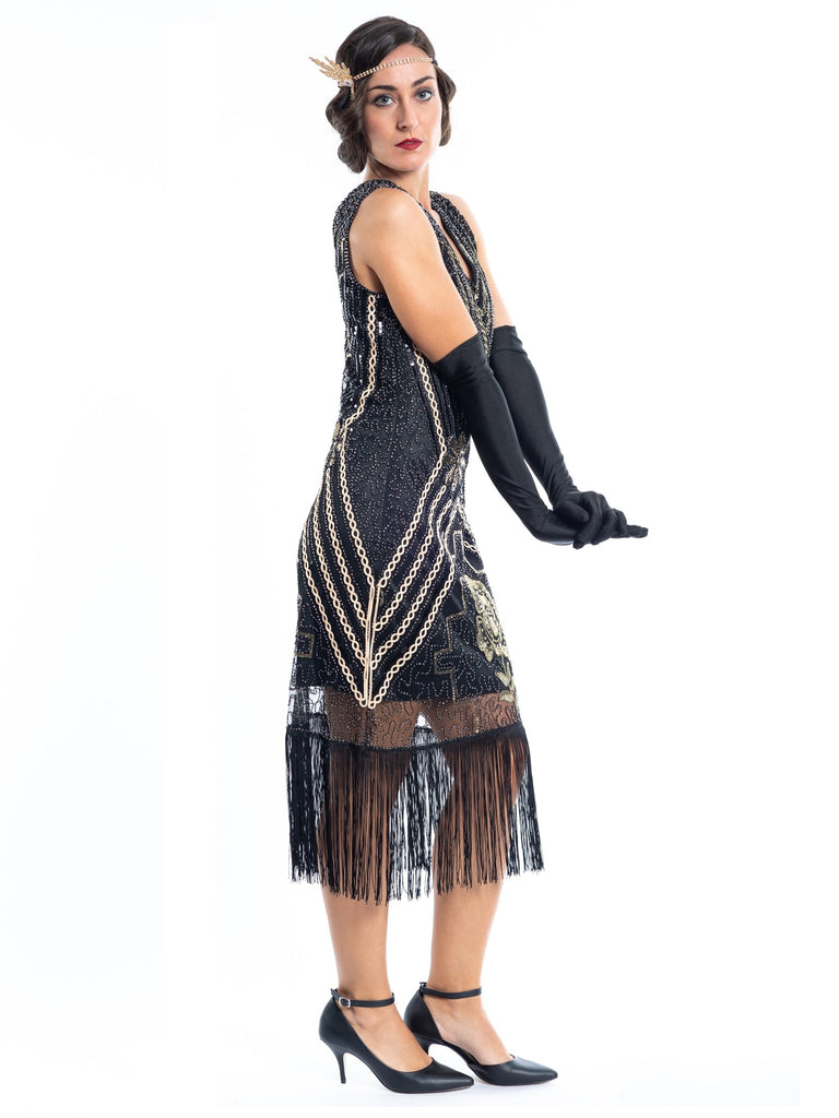 1920s Black Marilyn Vintage Gatsby Dress