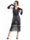 A Black Vintage Gatsby Dress with gold sequins, gold beads and black fringes